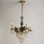 Two Tone Vintage Crystal Tier Chandelier