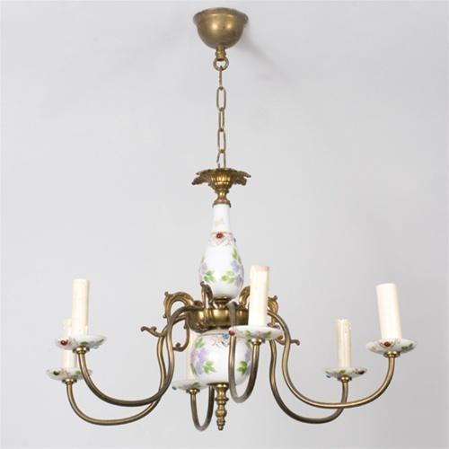 Vintage chandelier white porcelain chandelier from brass light gallery alternative views aloadofball Gallery