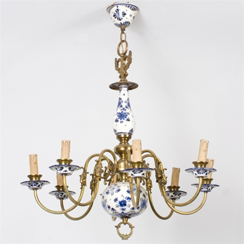 Vintage chandelier delft dolphin chandelier from brass light gallery alternative views mozeypictures Choice Image