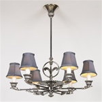 French Deco 6 Light Chandelier