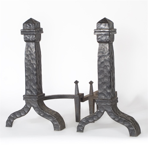 Rustic Hammered Andirons From Brass Light Gallery