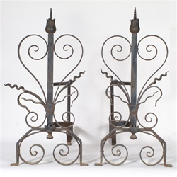 Pair of vintage fireplace items