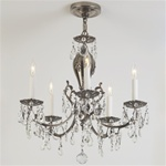 Intricate Crystal and Nickel Vintage Chandelier
