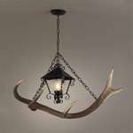 Wrought Iron and Antler Chandelier