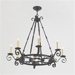 Large Iron Medallion Scroll Chandelier