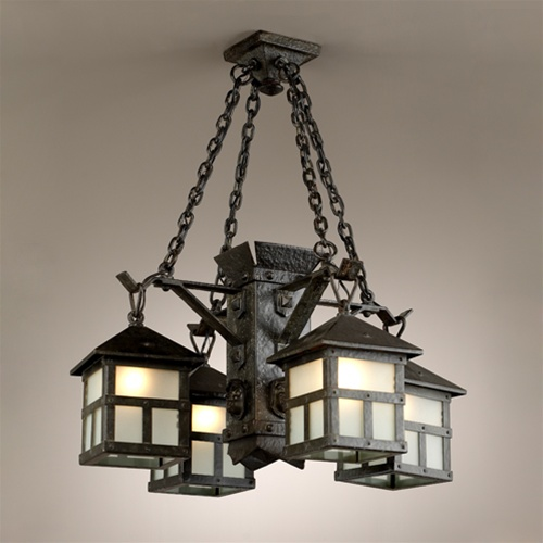 Arts and Crafts 4 Iron Lantern Chandelier - Vintage Chandelier Vintage & Antique Lighting And Light Fixtures