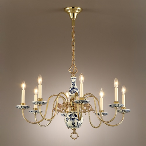 White and Blue Porcelain Chandelier - Vintage Chandelier Vintage & Antique Lighting And Light Fixtures