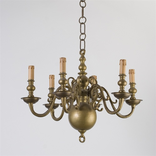 Vintage Chandelier 6 Arm Brass Candle Chandelier From