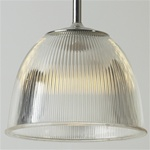 Vintage prismatic Holophane light fixture has a wonderful bell shape. Original Holophane glass & reproduction fitter.
