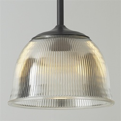 Vintage Holophane glass pendant light: original glass