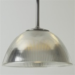 Vintage Holophane light fixture, salvaged glass on custom fittings.