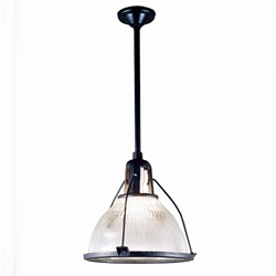 Antique industrial lighting, original Holophane glass & metal framework has been rewired for modern usage.