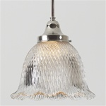 A rare spiral prismatic holophane light fixture. An antique industrial light that proves beautiful for any modern home.