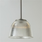 A popular prismatic glass from holphane, bell shape & coated interior