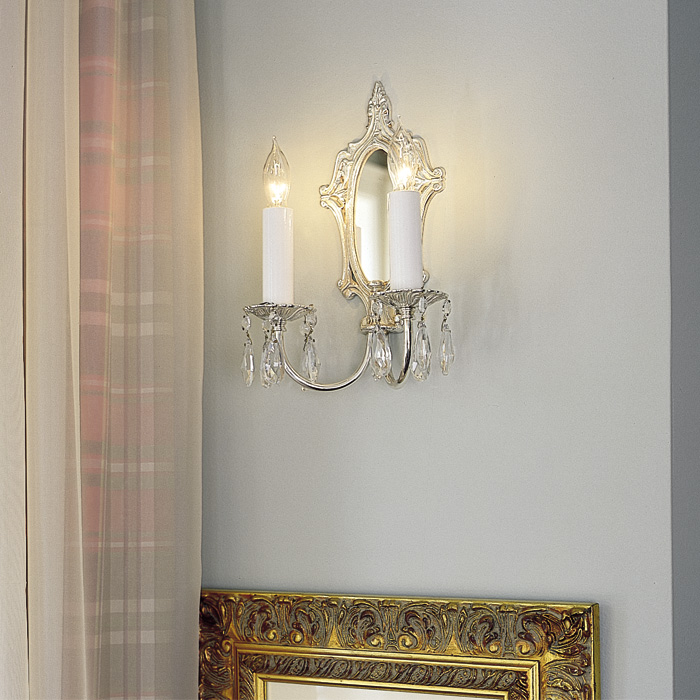 Vintage Originals Lighting Portfolio - Crystal and Silver Mirror Sconce