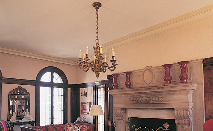 Vintage Originals Lighting Portfolio - Ornate Cast Brass Chandelier Lighting Living Room Image