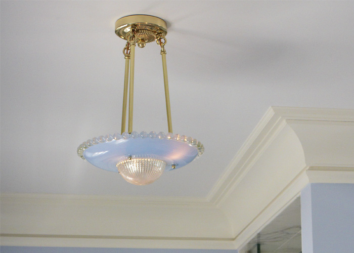 Vintage Originals Lighting Portfolio - Blue Glass Vintage Ceiling Fixture Lighting Bathroom Image
